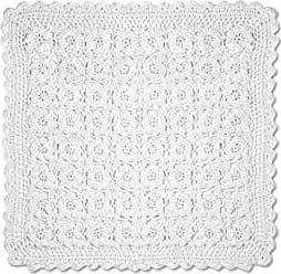Heritage Lace Blue Ribbon Crochet Doily, 14 by 14-Inch, White