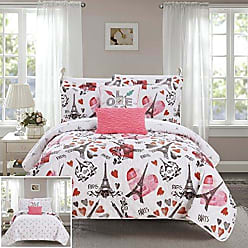 Chic Home Grand Palais 5 Piece Reversible Quilt Set Paris is Love Inspired Printed Design Coverlet Bedding - Decorative Pillows Sham Included/XL Size, Twin, Pink