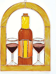 Gift Essentials Wine Glasses and Bottle Cathedral Window Panel - GE131