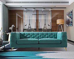 Iconic Home FSA9361-AN Soho Sofa Linen Textured Upholstery Plush Tufted Shelter Arm Solid Gold Tone Metal Legs Modern Transitional Green