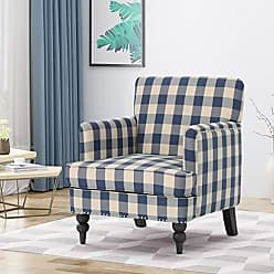 Christopher Knight Home 305560 Evete Tufted Fabric Club Chair, Blue Checkerboard, Dark Brown