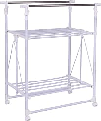 Costway Folding Adjustable Rolling Clothes Rack Hanger with 2 Shelves