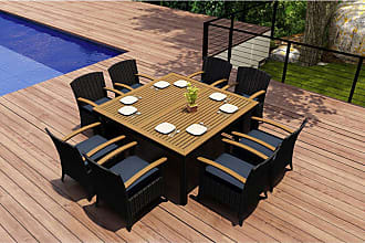 Harmonia Living Outdoor Harmonia Living Arbor Teak 9 Piece Square Patio Dining Set with Sunbrella Cushion - HL-AR-CB-9ASDS-IN