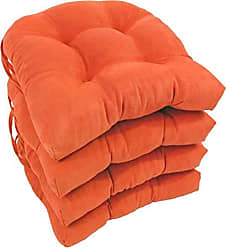 Blazing Needles Solid Microsuede U-Shaped Tufted Chair Cushions (Set of 4), 16, Tangerine Dream