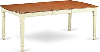 East West Furniture DOT-WHI-T Dover Dining Room Table With 18 Butterfly Leaf In Buttermilk And Cherry Finish