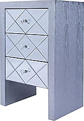 Heather Ann Creations Wooden 3 Drawer Chest/Console with Front Beveled Mirrored and Accent Finish, 28 x 17.7, Silver