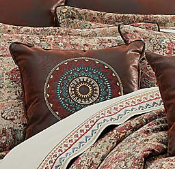 Five Queens Court Kemble 18 Square Embellished Southwest Decorative Throw Pillow, Brown, 18x18
