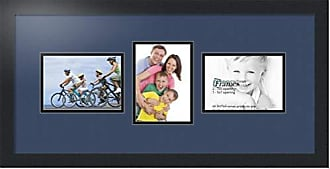 Art to Frames Double-Multimat-213-837/89-FRBW26079 Collage Photo Frame Double Mat with 3-5x7 Openings and Satin Black Frame