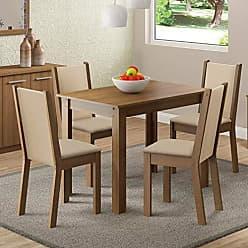 Madesa Sala de Jantar Cíntia Mesa com 4 Cadeiras - Rústico/Crema/ Pérola