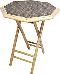 Heather Ann Creations Bohemian Bamboo Octagon Folding Bistro Table with Diamond Wood Top, 30, Dark/Light Brown