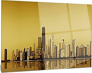 DESIGN ART Designart Chicago Gold Coast with Skyscrapers Cityscape Metal Wall Art, 20x12