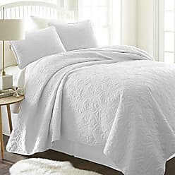 iEnjoy Home ienjy Home Damask Patterned Quilted Coverlet Set, King, White