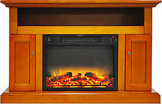 Cambridge Silversmiths CAM5021-2TEKLG2 Sorrento Electric Fireplace with an Enhanced Log Display and 47 In. Entertainment Stand in Teak