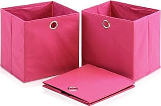 Furinno Laci NW13117 Foldable Storage Organizer with Round Ring Handle, Pink, Set of 3