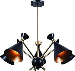 Kenroy Home Arne 5 Light Chandelier, Matte Black with Antique Brass Finish