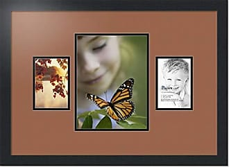 Art to Frames Collage Photo Frame Double Mat with 1 - 8.25x11 and 2 - 4x6 Openings and Satin Black Frame