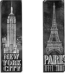 Portfolio Canvas Decor Portfolio Canvas Decor Framed and Stretched Ready to Hang Chalkboard-Eiffel Tower 2 Canvas Wall Art by IHD Studio (Set of 2), 12 x 36/Large