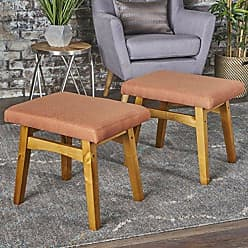 GDF Studio 302152 Analise Foot Stool Ottoman | Mid Century Modern, Danish Design | Upholstered in Orange Fabric (Set of 2)