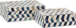 Ashley Furniture Home Accents Marine Blue Bone Boxes (Set of 2), Blue