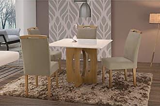 Siena Móveis Conjunto Sala de Jantar em Madeira Maciça Mesa Suécia 4 Cadeiras Priscila Siena Móveis Imbuia Natural/Suede 35