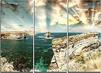 DESIGN ART Designart Rocks at Ocean Road Victoria-Extra Large Seascape Art Canvas-36x28in-Multipanel 3 Piece, 36x28-3 Panels, Blue
