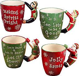 Certified International Santa, Snowman, Elf & Penguin 3D Handle Mugs (Set of 4), Multicolor