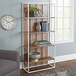 Walker Edison WE Furniture AZS64FHPWWRO Bookcase 64 Rustic Oak/White Metal