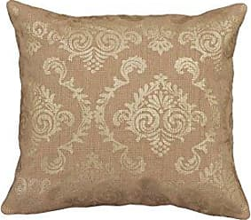 Heritage Lace Burlap Damask Pillow Cover, 18 by 18-Inch, Gold