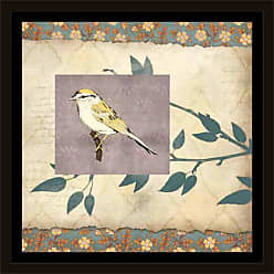 EAZL Bird & Branch on Vintage Pattern Papers Tan & Purple, Framed Canvas Art by Pied Piper Creative