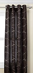 United Curtain Sinclair Embroidered Window Curtain Panel, 54 by 84-Inch, Chocolate