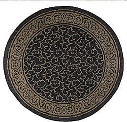 Trademark Global 8 foot Round Area Rug, Indoor Outdoor Stain Resistant and Water Repellant Vine Ornate Rug by Lavish Home (Black and Tan) (Accent Rug for Home Decor)