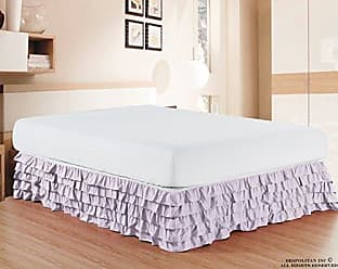 Elegant Comfort Luxurious Premium Quality 1500 Thread Count Wrinkle and Fade Resistant Egyptian Quality Microfiber Multi-Ruffle Bed Skirt - 15inch Drop, Full, Lilac/Lavender
