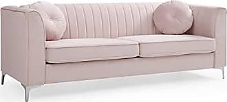 Glory Furniture Delray G794A-S Sofa, Pink. Living Room Furniture, 32 H x 87 W x 34 D