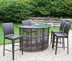 Oakland Living Outdoor Oakland Living All Weather Wicker Half Round Patio Bar Set - 90096-90054-5-CF