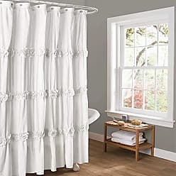 Lush Décor Darla Ruched Floral Bathroom Shower Curtain, 72 x 72, White