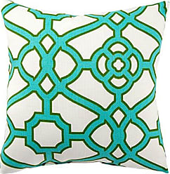 Jaipur Geometric Pattern Green Polyester Polly Fill Pillow, 18-Inch x 18-Inch, Snow White Odl Pavilion