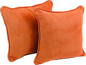 Blazing Needles Solid Microsuede Double-Corded Square Throw Pillows with Inserts (Set of 2), 18, Tangerine Dream