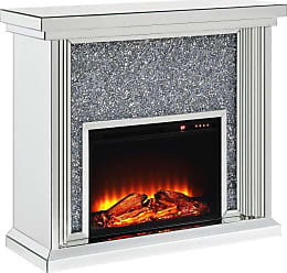 ACME Noralie Electric Fireplace with Beveled Mirror Columns - 90455