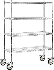 Salsbury Industries Mobile Wire Shelving Unit, 48-Inch Wide by 69-Inch High by 18-Inch Deep, Chrome
