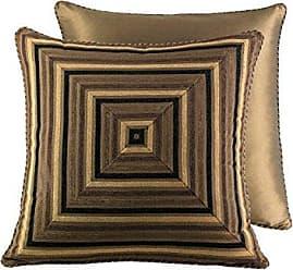 Five Queens Court Reilly Woven Chenille Stripe Luxury Quality Euro Sham, Black/Gold