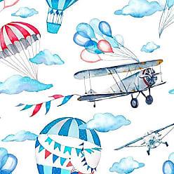 Lar Adesivos Papel de Parede Infantil Avião Quarto Menino Lavável N3958
