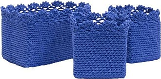 Heritage Lace Mode Crochet Rectangle Baskets with Crochet Edge, 5 by 5 by 6-Inch/10 by 6 by 6-Inch, Cobalt Blue, Set of 3