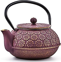 Old Dutch International 1032PG Cherry Blossom Teapot, 22 oz, Purple, Gold
