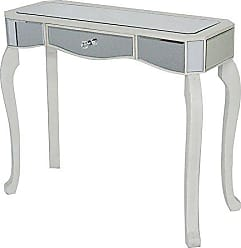 Heather Ann Creations W192154-WANT 30.7 Antique White Katrina Collection Console Living Room Office Writing Table with Drawer and Mirror Accents