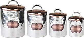 Amici Home Cucina Hammered Metal Canisters (Set of 4), Stainless Steel