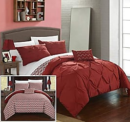 Chic Home 4 Piece Jacky Pinch, Reversible Chevron Print Ruffled and Pleated Complete Full/Queen Comforter Set Brick Shams and Decorative Pillows Included, Orange