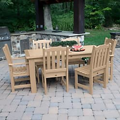 highwood USA Lehigh Recycled Plastic 7 Piece Thin Rectangular Patio Dining Set