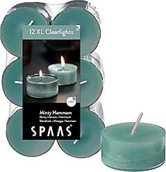 Spaas 12x4 Bougies Chauffe-Plat parfum/ées en Cire de Paraffine gobelet en Aluminium Vert /émeraude D 58mm x H 24mm