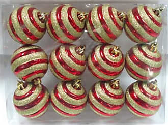 Queens of Christmas WL-ORN-12PK-REGO Red Ball Ornament with Gold Glitter Line Design (Pack of 12)