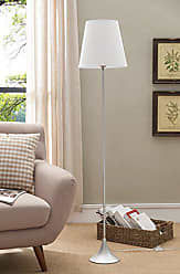 Kings Brand Furniture Kings Brand 60 H Silver Finish Metal Body with White Fabric Shade Floor Lamp